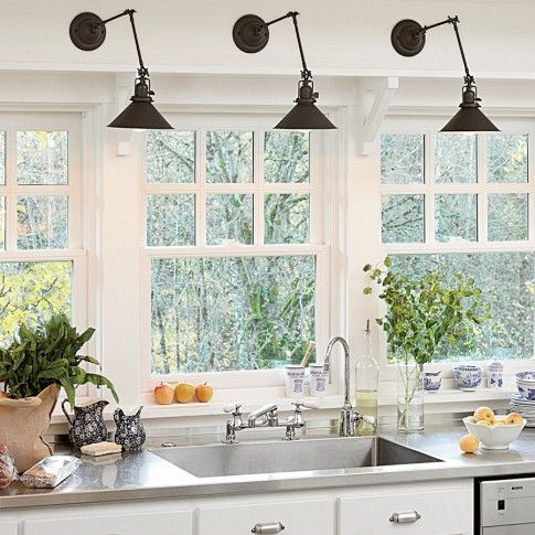 Love the windows. Rejuvenation Reed Sconce | Williams-Sonoma/ maybe I can finally remove that tacky track lighting!