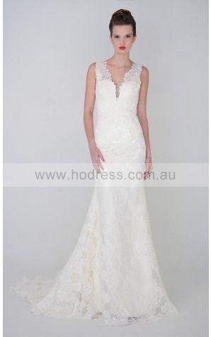 Backless Sheath Natural V-neck Wedding Dresses hacf1002--Hodress