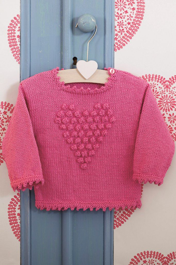 Girls Bobble Heart Jumper Knitting Pattern - The Knitting Network