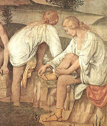 1522, ladies bathing. They wear short chemises. One lady has rolled down pale yellow stockings and wears delicate sandals.