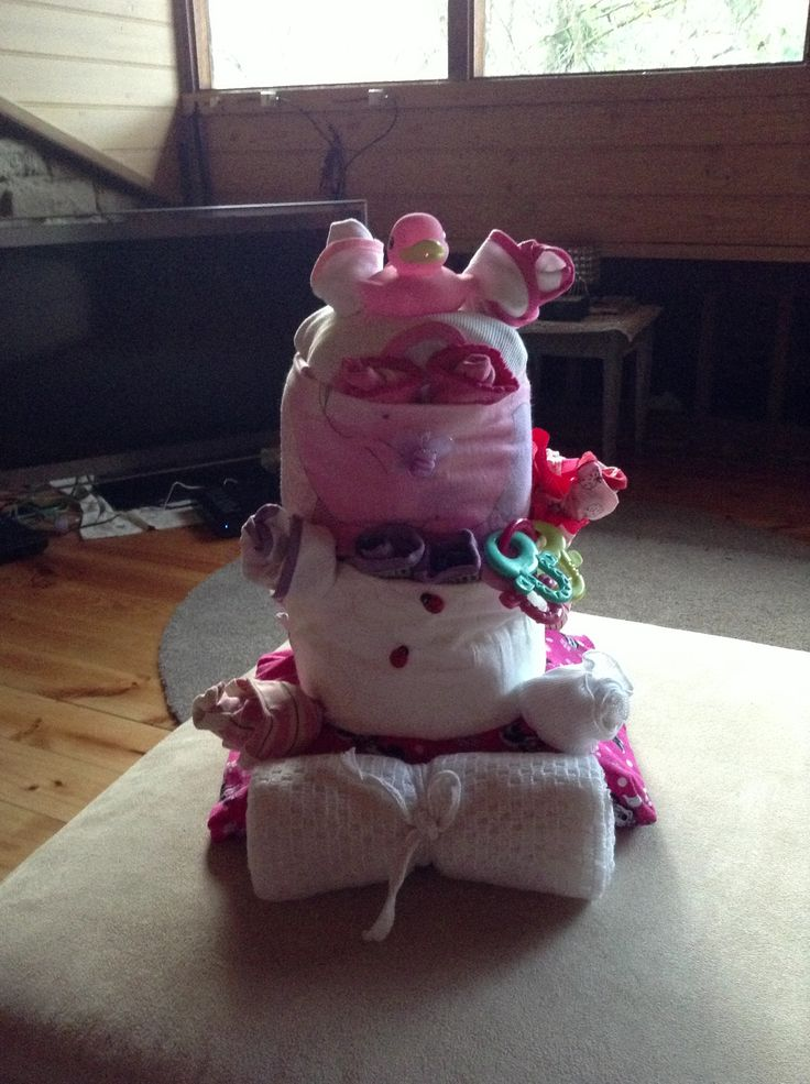 Baby shower nappy cake- before being wrapped #babyshower #nappycake #baby