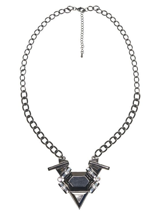 "Full of chic edge, this statement necklace has bold features, including a thick chain and a pendant with geometric stones, an iridescent sheen and rhinestone embellishments. Chain measures 30"" long with a 3"" long pendant. Necklaces secures with a lobster clasp closure. Metal 