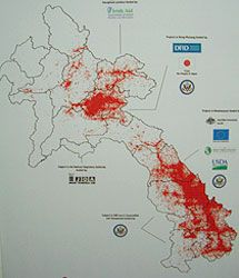 ラオスの空爆被害地図