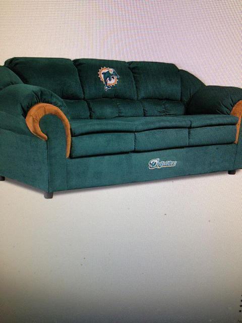 Miami Dolphins couch for Scott's eventual man cave haha