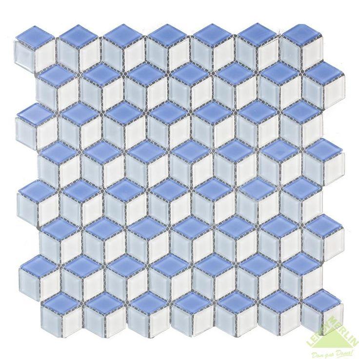 Мозаика стеклянная Artens, белая/голубая, 305,1х302,9х4 мм, Мозаика - Каталог Леруа Мерлен