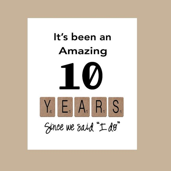10th Wedding Anniversary Card  Tenth Wedding by DaizyBlueDesigns