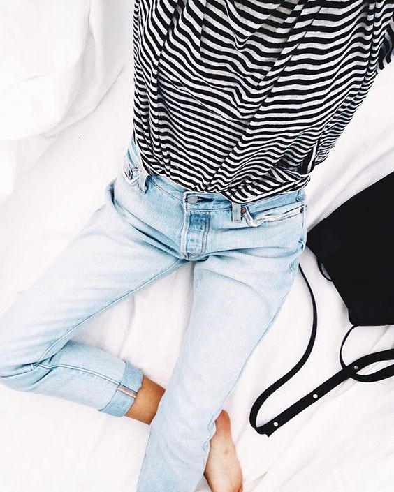 girlfriend jeans and striped shirt -so simple and beautiful