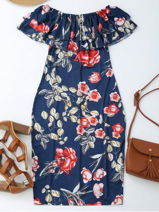 $15.99 Off Shoulder Ruffle Floral Sheath Dress - FLORAL M