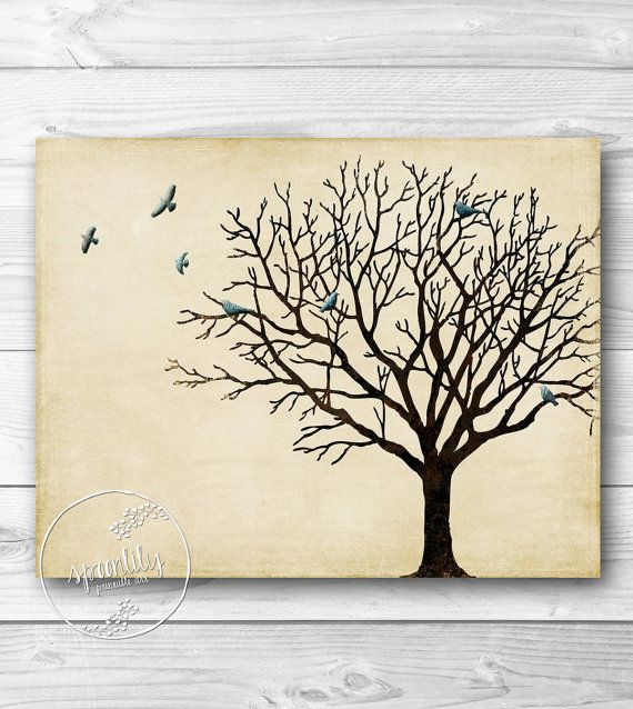 Tree wall art winter tree silhouette vintage inspired for Winter wall murals