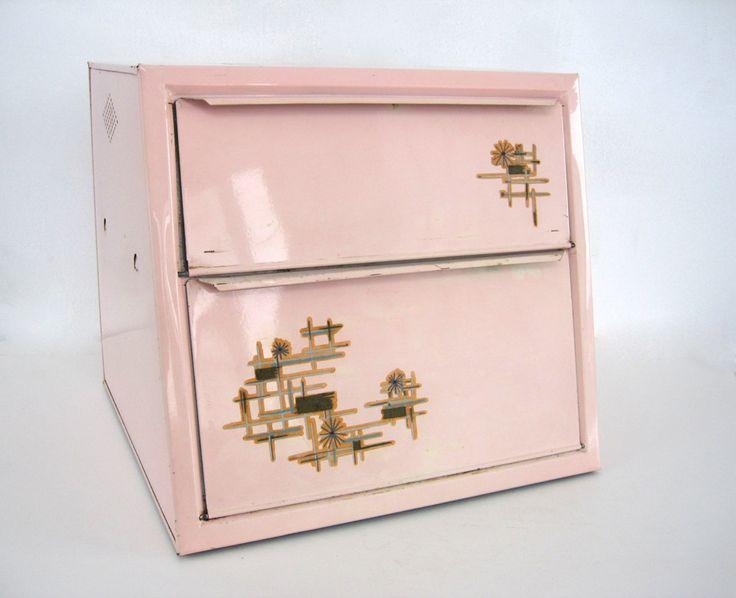 Vintage Metal Bread Box Tin Atomic Pink Kitchen Home Decor 1950