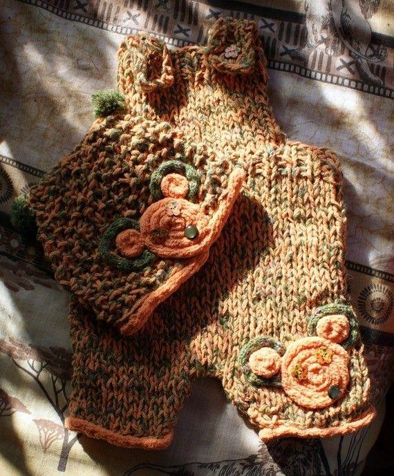 Ensemble bébé salopette et bonnet Souris au tricotin