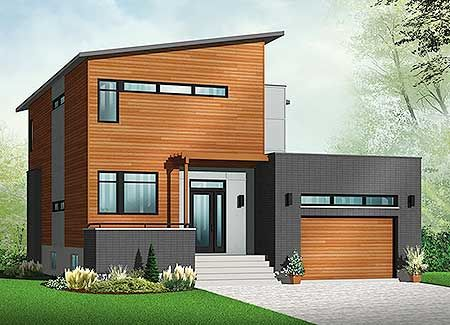 Plan 22392DR: Contemporary House Plan With Sunken Foyer
