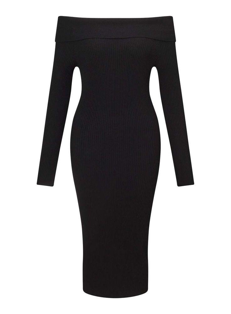 Knitted Black Bardot Dress