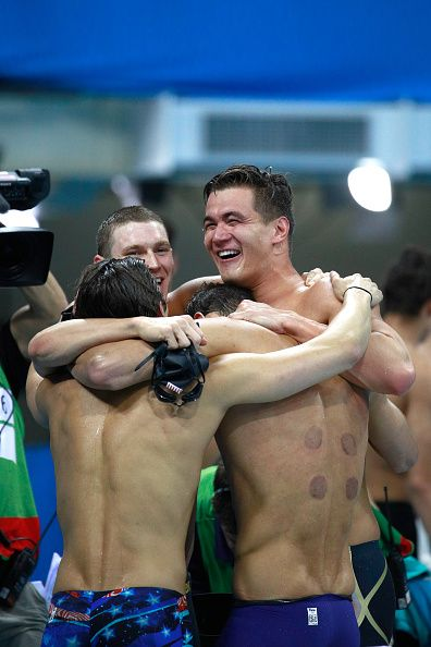 Nathan Adrian Ryan Murphy Michael Phelps and Cody Miller of the United States…