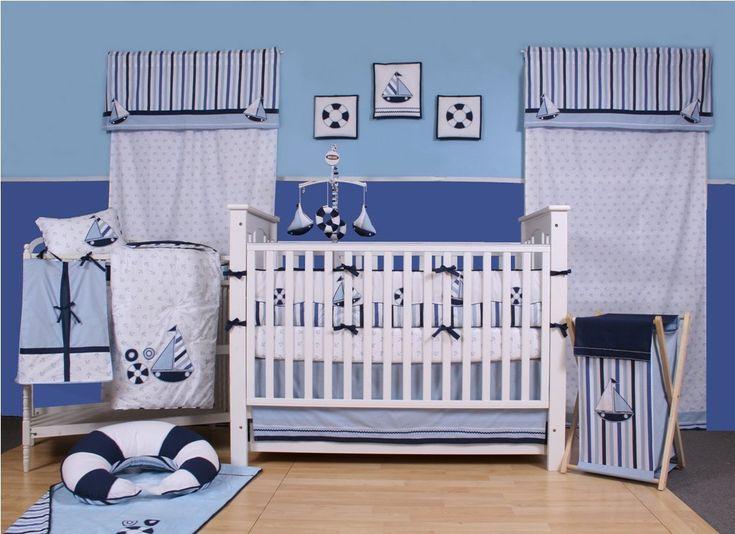 10 Piece Sailor Crib Bedding Set Blue Nautical Boys Bedroom Nursery Cotton New