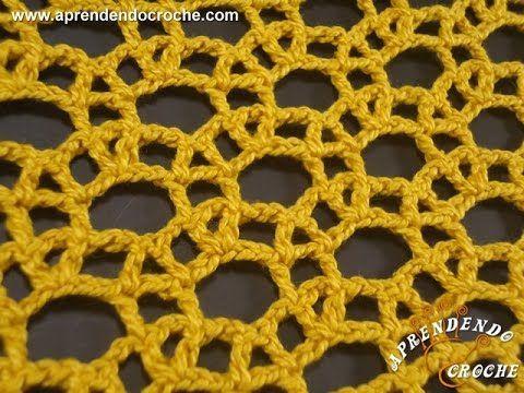 Ponto de Crochê Rendado com Argolas - Aprendendo Crochê ༺✿ƬⱤღ  https://www.pinterest.com/teretegui/✿༻