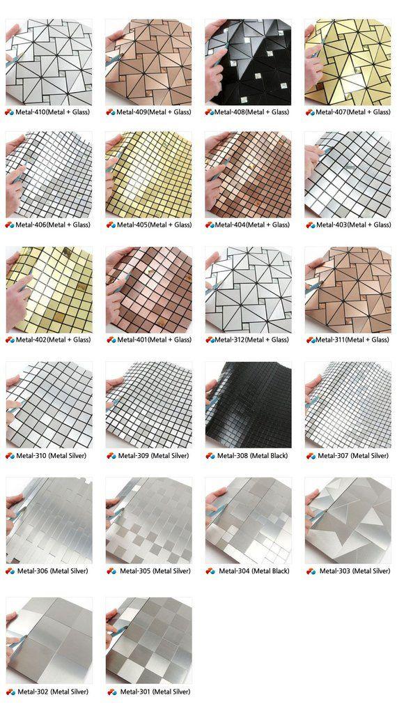 5 Pack Peel Stick Metal Tile Backsplash For Kitchen Wall Etsy
