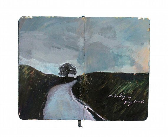 """This print is a reproduction of a painting I made in my travel sketchbook with acrylic ink in a Moleskine journal. Text at bottom right reads, """"Exhaling in England."""" The painting depicts Devon, England. All images and poetry are original. I photograph my sketchbook laying open on a white background. The print displays the open book as a whole, including the centerfold, ragged edges, and (on some) the journals bookmark ribbon. I print with long-lasting pigment inks on premium matte fine art…"""