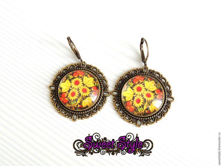 """Купить Серьги """"Цветочная фантазия"""" - комбинированный, цветы, серьги ручной работы, серьги в подарок, сережки"""