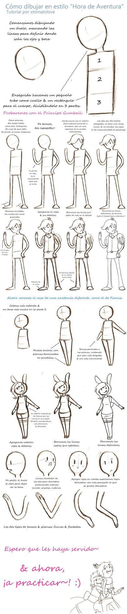 Como dibujar en estilo Hora de Aventura TUTORIAL by xtomatolove