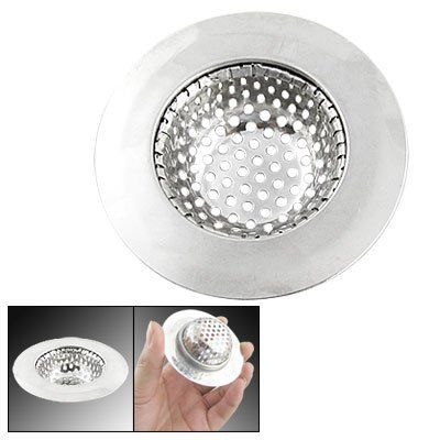 "Amico 70mm Dia Stainless Steel Water Drain Sink Strainer for Kitchen Basket by Amico. $5.33. Hole Dia.: 40mm/ 1.57""; Depth: 15mm/ 0.59'. Package: 1 x Sink Strainer. Product Name: Sink Strainer. Color: Silver Tone; Net Weight: 16g. Material: Stainless Steel; Strainer Dia.: 70mm/ 2.76"". Feature stainless steel meshy sink strainer is for water drainage and garbage disposal. It can prevent big waste to flow to tube, avoid drain tube not to be blocked. A must for y..."
