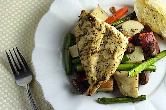 Easy Herb-Roasted Chicken & Vegetables- For one