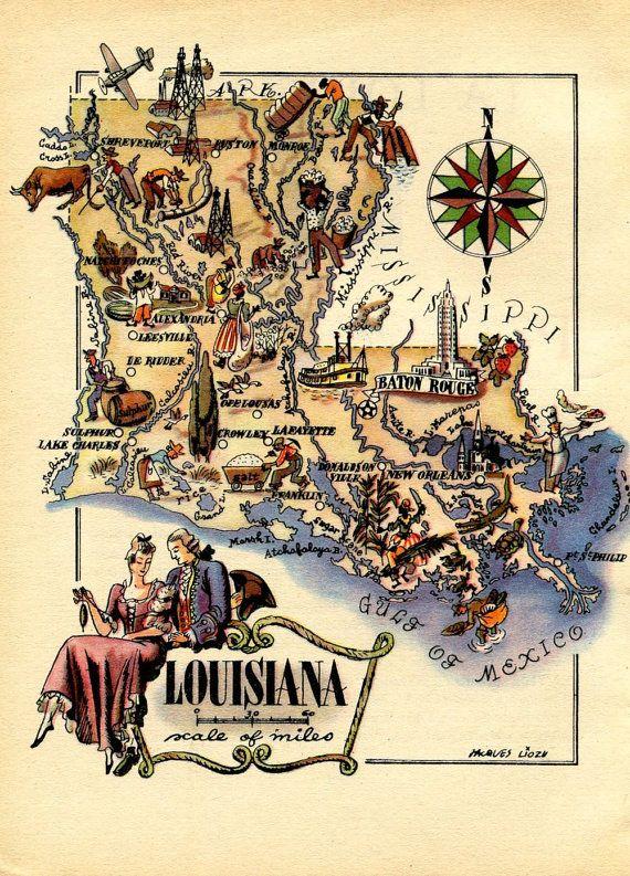 Vintage Map of Louisiana 1946 United States USA by CarambasVintage, $16.00