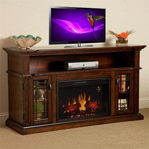 """Wallace 26"""" Empire Cherry Media Console Electric Fireplace Cabinet Mantel Package - 26MM1264-EPC"""