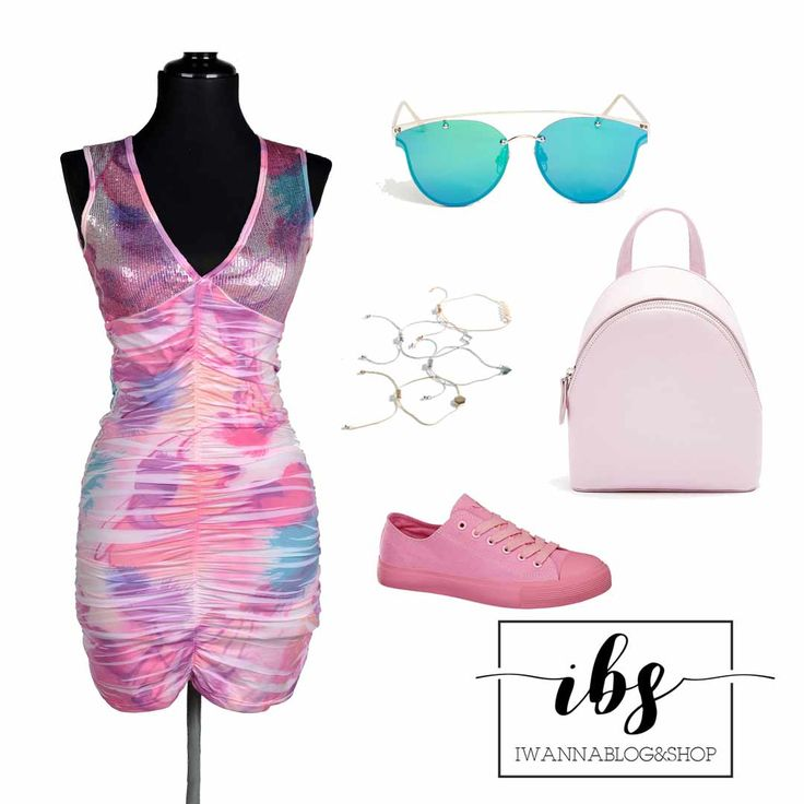 Summer dress Outfit, Short Dress with Pink Sneakers, Blue Aviators and Baby pink Backpak