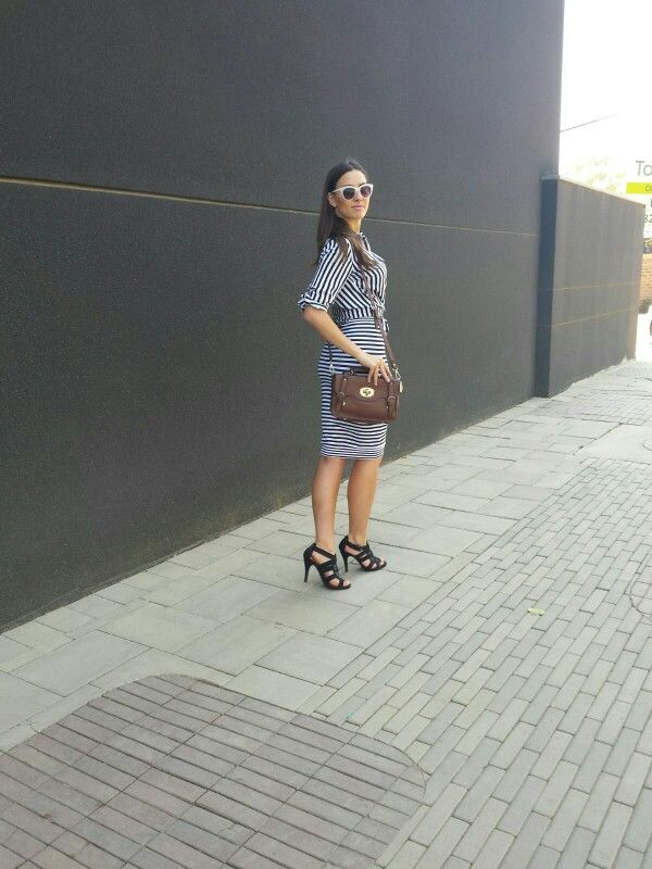 Stripes -striped blouse and pencil skirt with witchery gladiator heels www.feliciadebeer.co.za