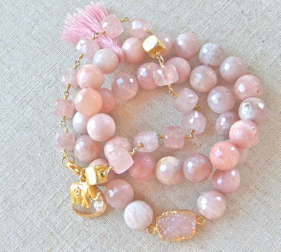 Moonstone, Rose Quarts and Druzy Bracelets