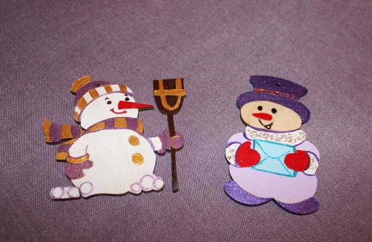 """новогодние игрушки """"Веселые снеговички"""", ручная роспись"""
