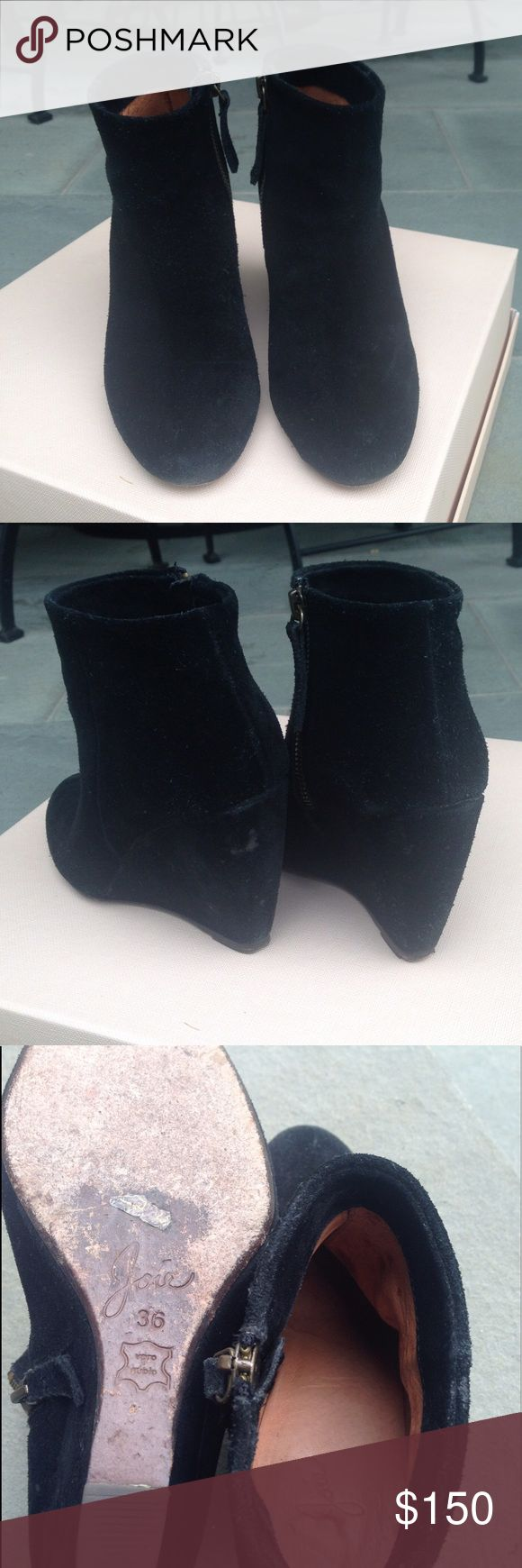 Joie Black Suede Wedge Boots, size 5 Gently worn Joie Shoes Ankle Boots & Booties