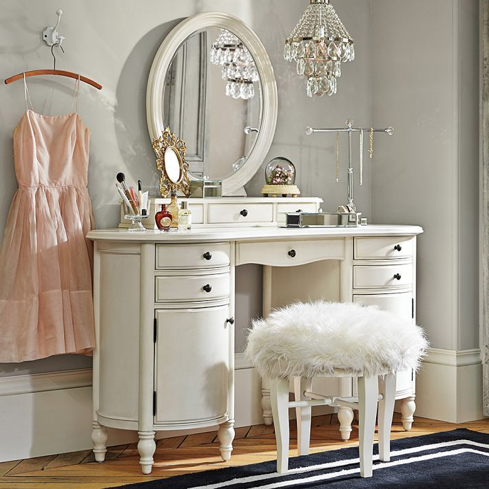 Beautiful Vanity Table Ikea With White Frame Oval Mirror And Double Drawer Combine Rug