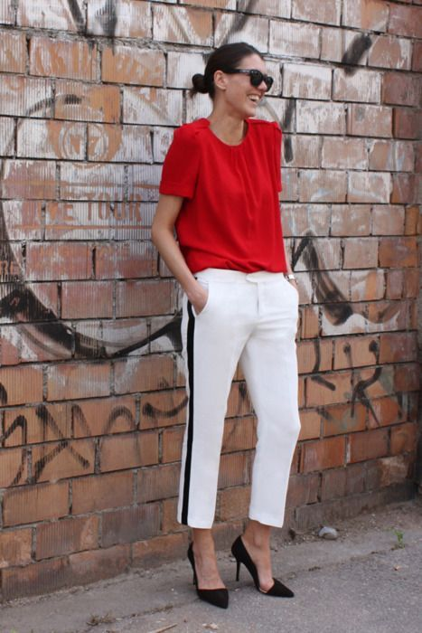 red top and side stripe pants