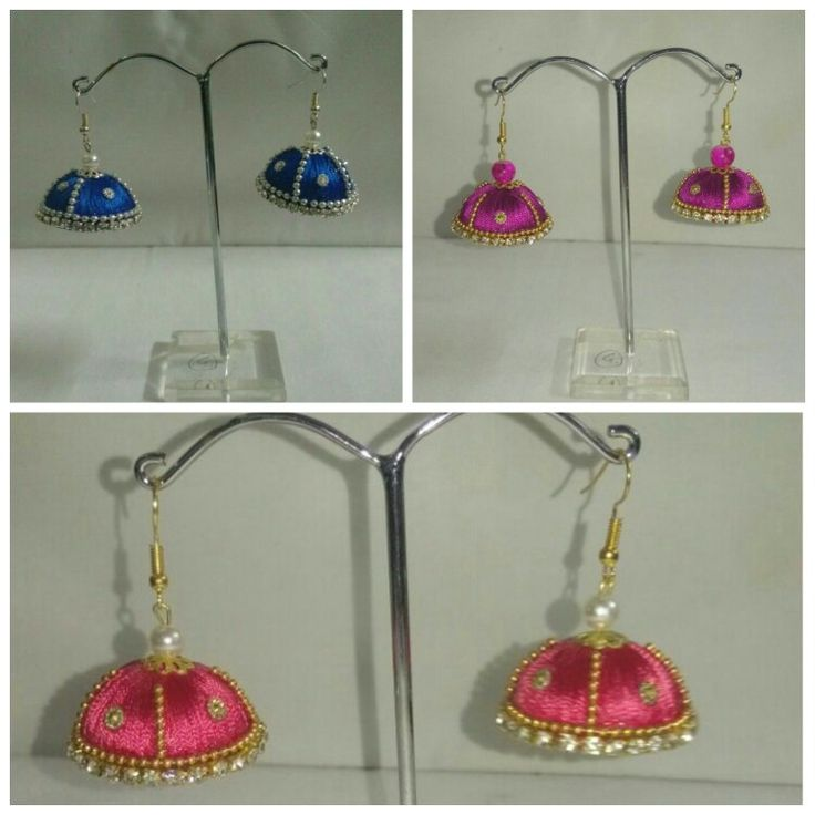 Silk thread earrings Rs. 270/-. For ordering call/whats app me on 9953393971