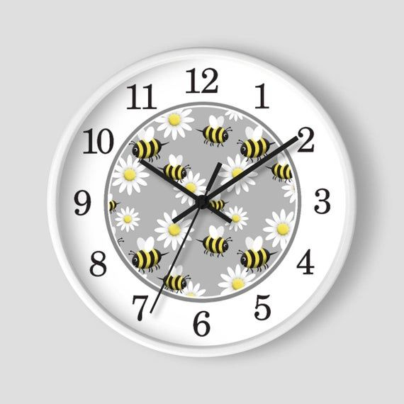 Happy Bee Daisy Wall Clock Pattern In Yellow And White With Wood Frame 10 Inch Round Clock Made To Order Wallclock Wall Clock Clock Wall Clock Design