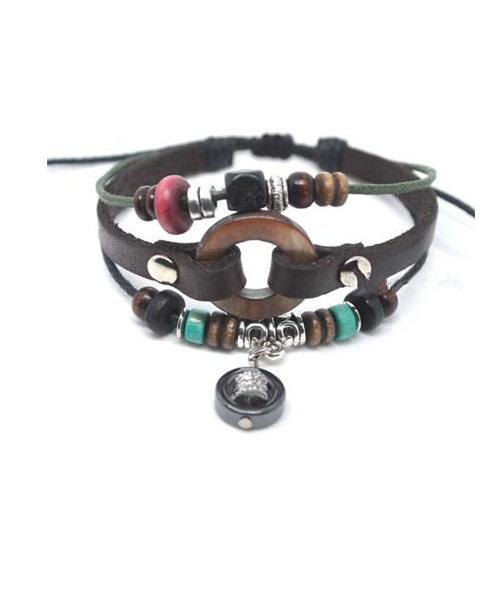 Cowleather and Hemp Beaded Bracelet Pack