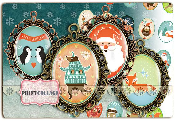 Cabochon oval images Happy Winter 40x30 30x22 by PrintCollage