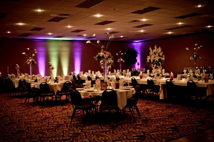 """Uplighting.  Uplighting really adds a """"wow"""" factor as guests enter the reception and see beautifully lighted walls. (Photo take at the Hampton Inn in Scottsbluff, Nebraska)"""