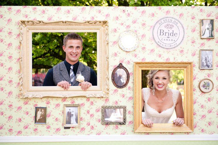 A vintage backdrop as a photobooth! As seen on BRIDE.Canada
