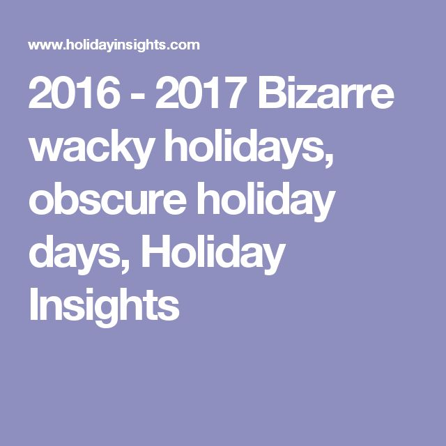 2016 - 2017 Bizarre wacky holidays, obscure holiday days, Holiday Insights