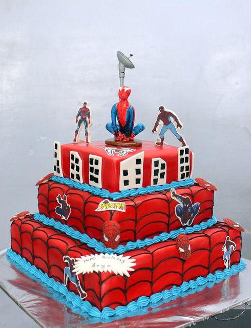 spiderman birthday cakes | Spiderman cartoon 3 tier birthday cake | Flickr - Photo Sharing!