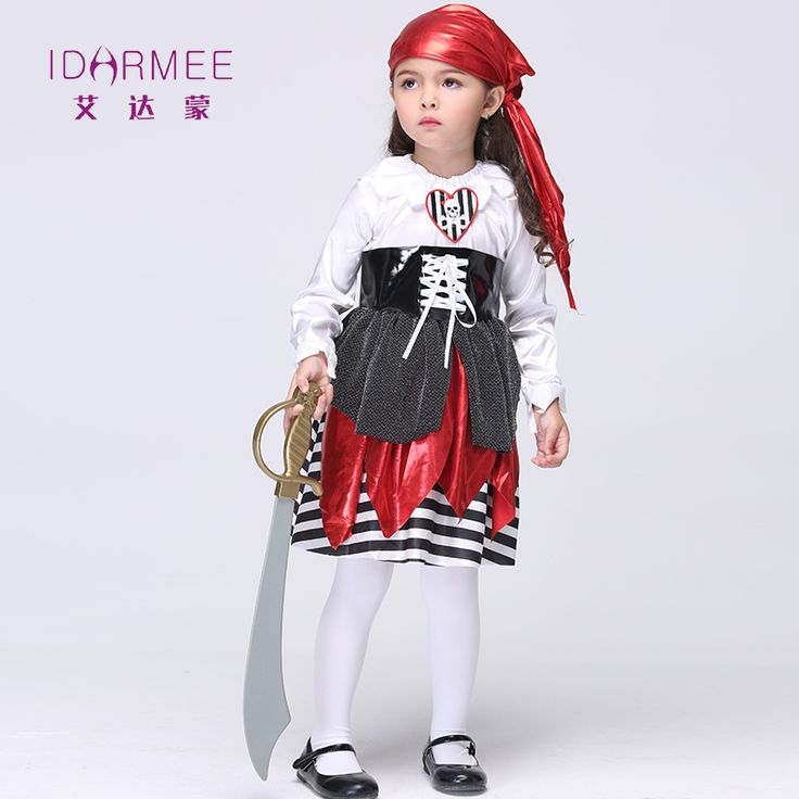IDARMEE Halloween Pirate Costumes for Girls Party Cosplay Costume Children Assassins Creed Photographic Costume for Kids S9023 #Affiliate