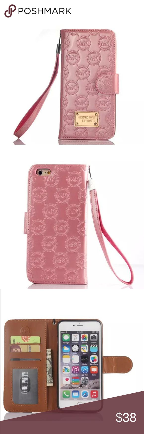 NWT Michael Kors Flip Phone Case IPhone 7 NWT Michael Kors Flip Phone Case for iPhone 7 in Embossed Pink Patent Leather with 3 slots for cards a slip pocket for cash, receipts anything you'd like! All in one portability!! Magnetic Closure no trades price firm MICHAEL Michael Kors Accessories Phone Cases