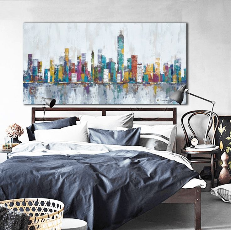 Style Your Home Today With This Amazing 1 Panel Abstract New York City Skyline Unframed Modern Wall Canvas For $78.00  Discover more canvas selection here http://www.octotreasures.com  If you want to create a customized canvas by printing your own pictures or photos, please contact us. #SailBoatCanvas #SailBoat #Boat #CloudArt #ColorfulZebra #OilPainting #1PanelColorfulZebra #sail   #octotreasures