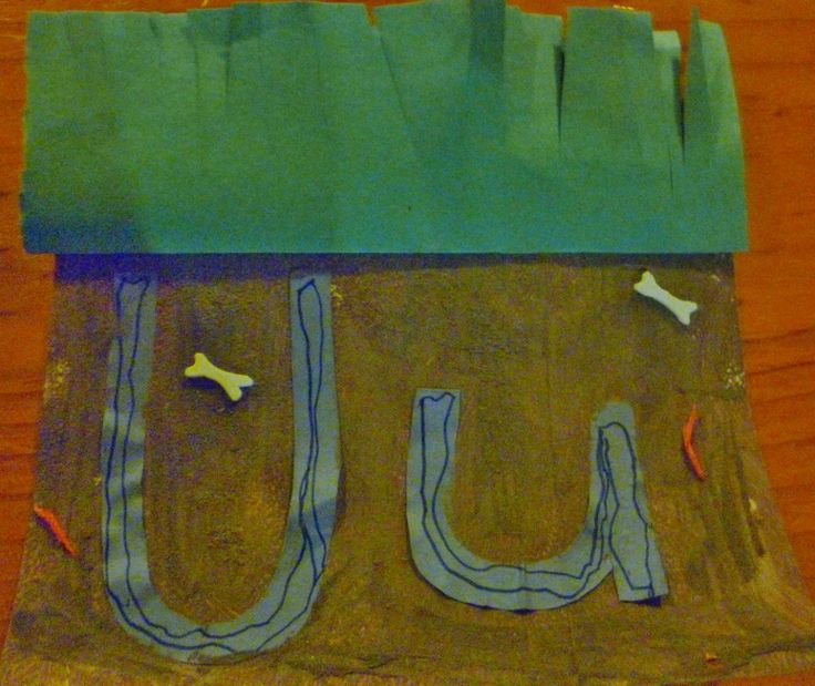 Make the short U sound with your preschooler by constructing a mixed media collage of an underground scene.