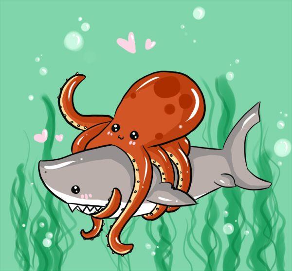 Mega Shark vs Giant Octopus  by *misi-chan