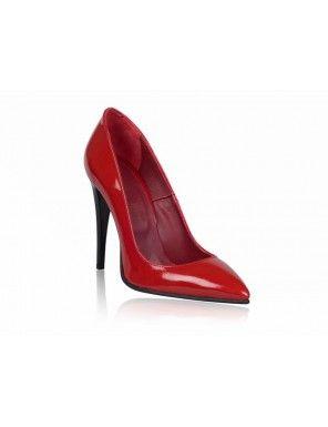 Pantofi rosii din piele naturala, Stiletto Very Chic