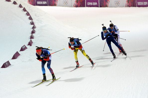 Anton Shipulin of Russia leads Simon Schempp of Germany, Emil Hegle Svendsen of Norway and Dominik Landertinger of Austria during the Men's 4 x 7.5 km Relay (c) Getty Images